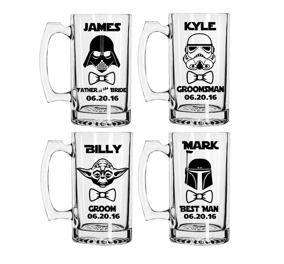 Set of 6, Star Wars Inspired Beer Mugs,Etched or Vinyl Mugs ...