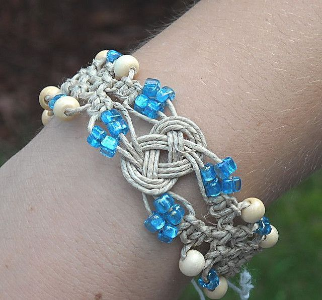 Hemp JewelryJosephine Knot Beaded Hemp Bracelet Hemp jewelry