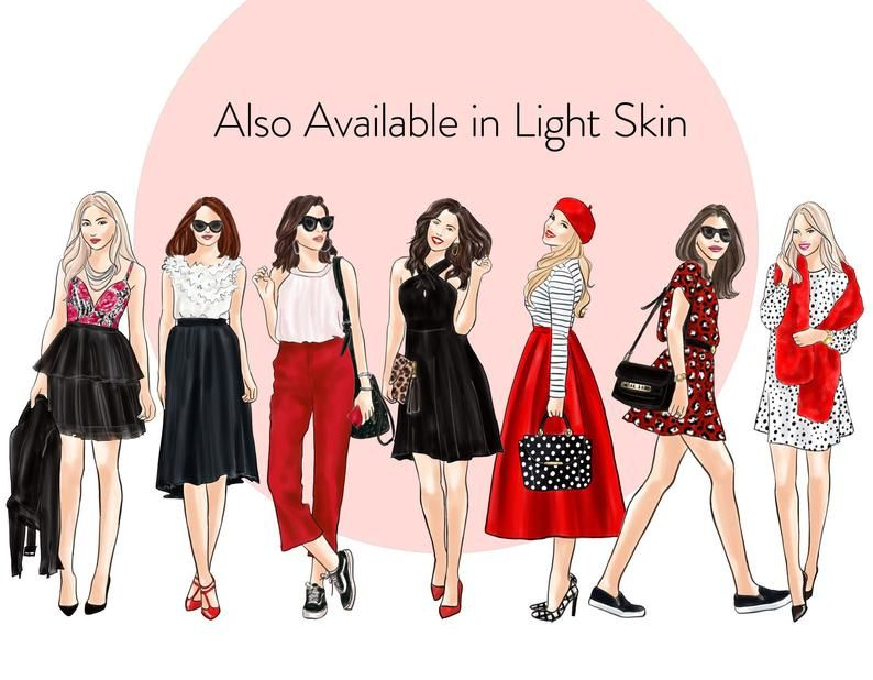 Girls In Black White Red Dark Skin Fashion Illustration Etsy In 2021 Fashion Clipart Fashion Illustration Fashion Illustration Watercolor