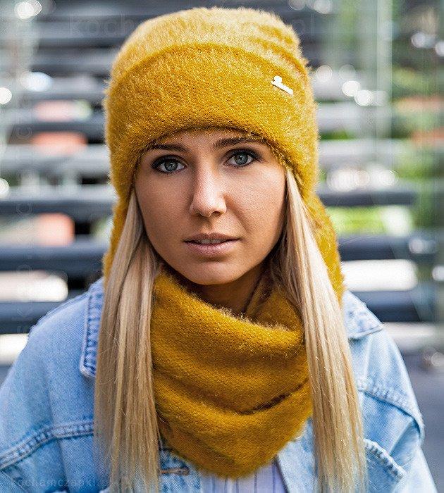 Czapki Zimowe Miodowy Komplet Winter Scarf Crochet Scarf Scarf