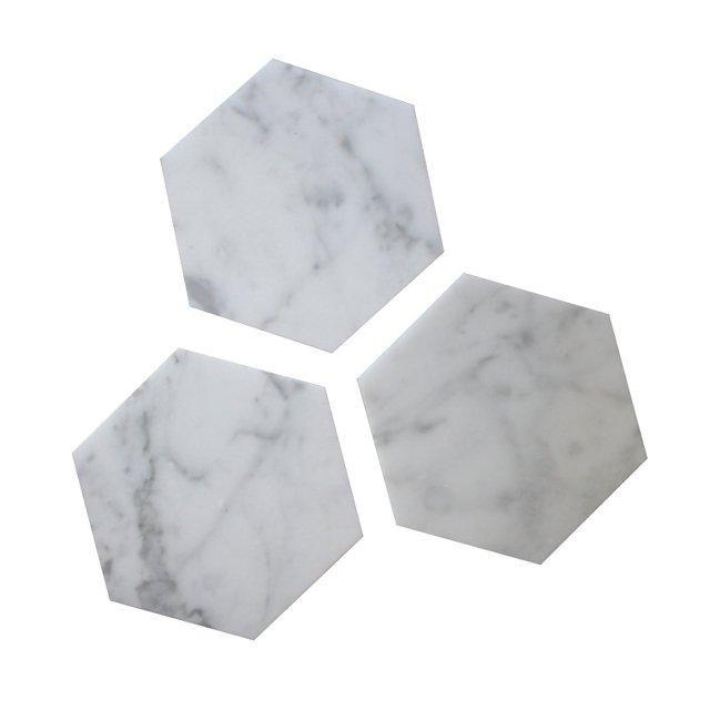 FiddleLeaf Carrara marble geometric hexagon coasters