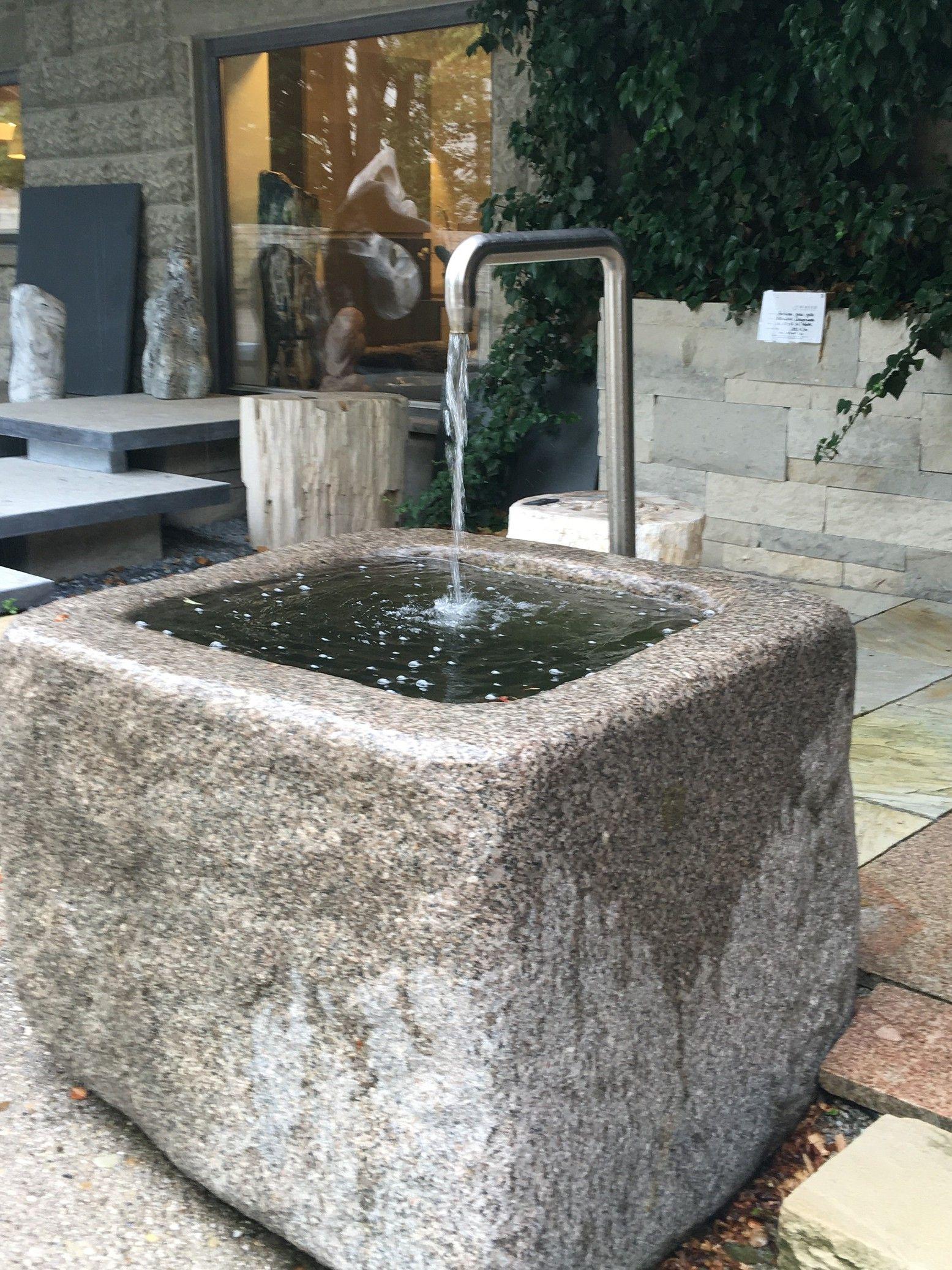 Granittrog Abgerundet Mit Einlauf Brunnen Garten