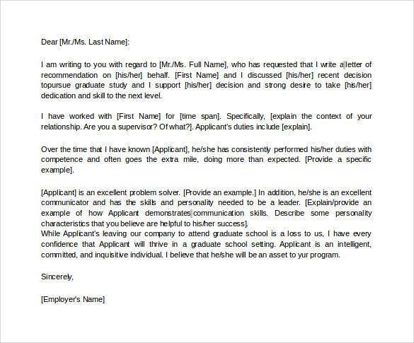 Letter of recommendation for graduate school from employer in word sample graduate school recommendation letter graduate recommendation letter from employer spiritdancerdesigns Image collections