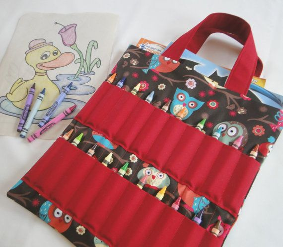 owl coloring book and crayon holder bagtote kids by shoppebylola 2000 - Coloring Book And Crayon Holder