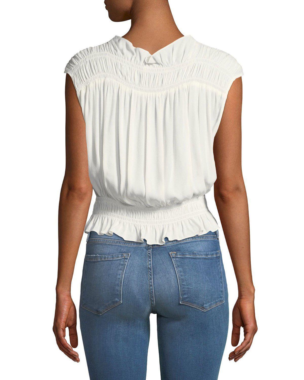 1fc8f0fc90effd Frame Soft Sleeveless Smocked Blouse | Products | Blouse, Fashion, V ...