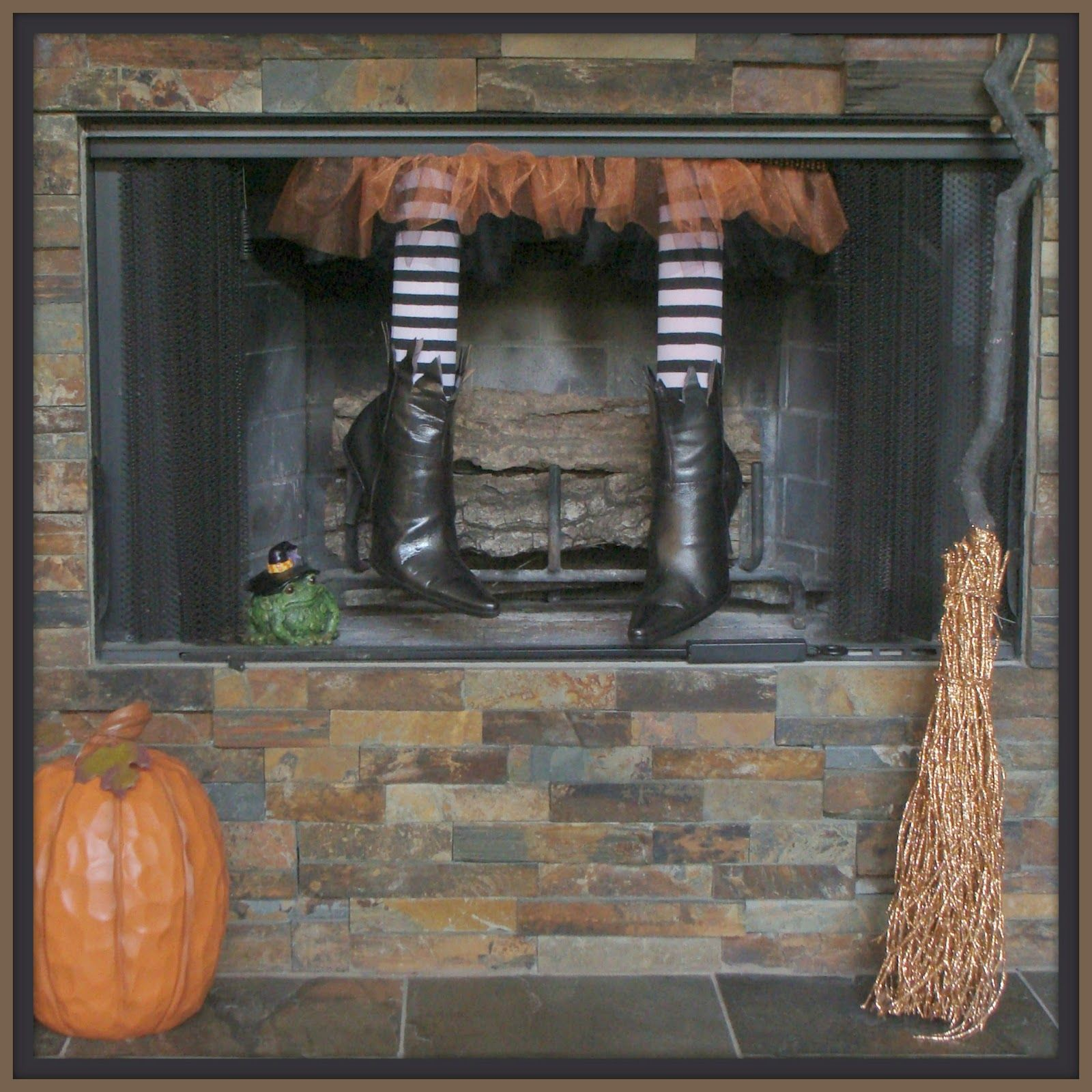 Crafty In Crosby Fireplace Witch tutorial Halloween
