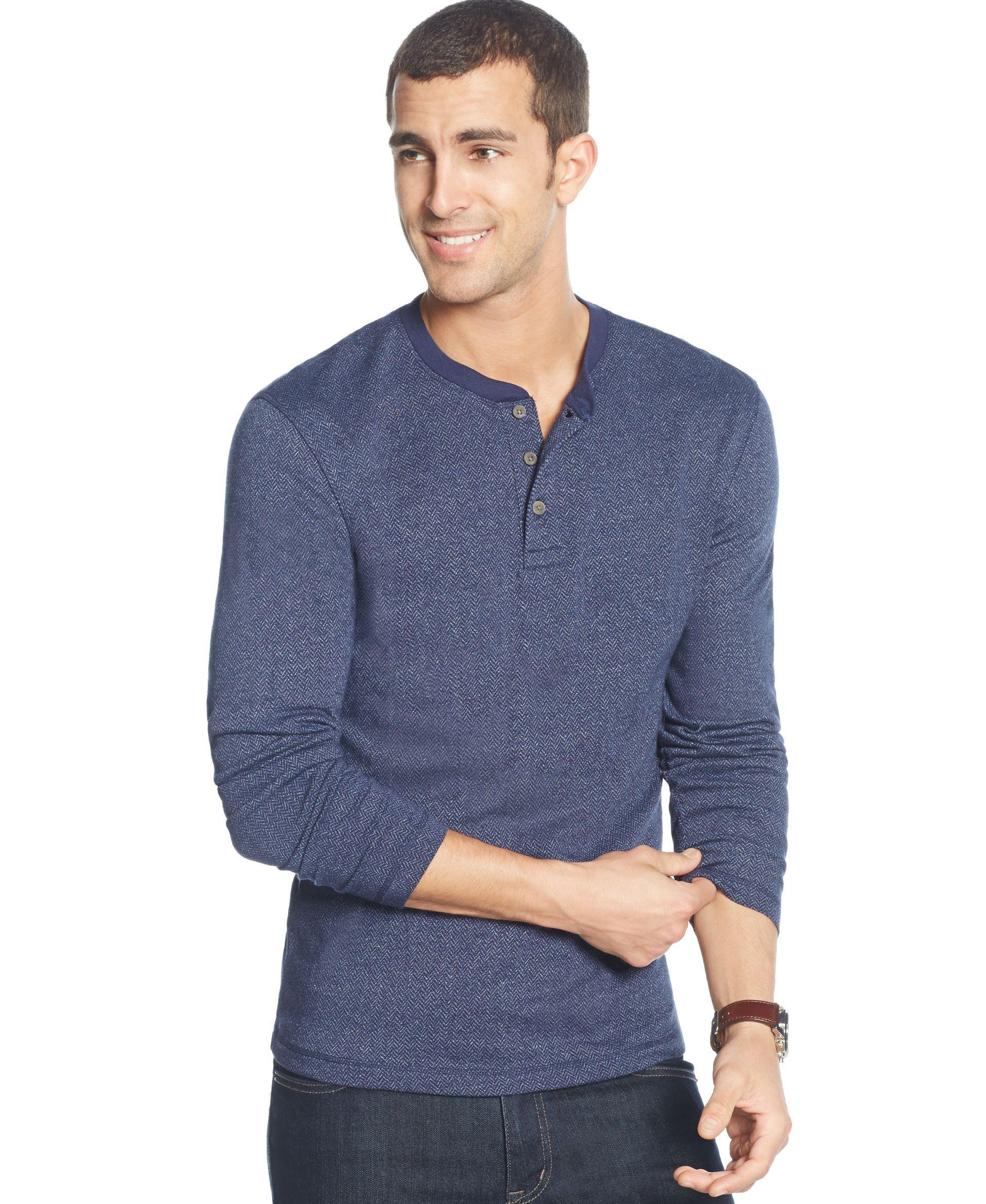 Club Room Mens Long Sleeve Herringbone Henley Shirt