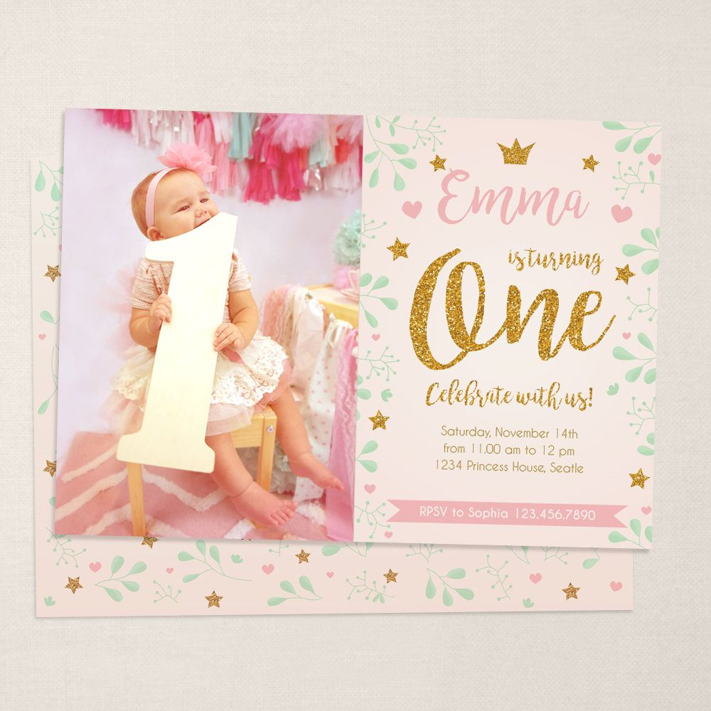 First birthday invitation baby girl. Gold and pink