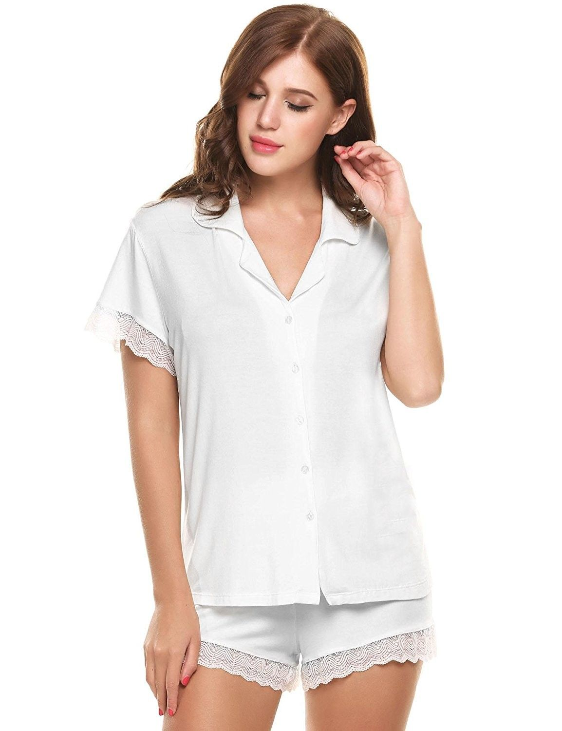 Womens Short Sleeve Slim Lace Pajama Sets Tops And Shorts S Xl White C6186ws56lh Sleepwear Women Pajama Set Women Short Sleeve Pajama Set