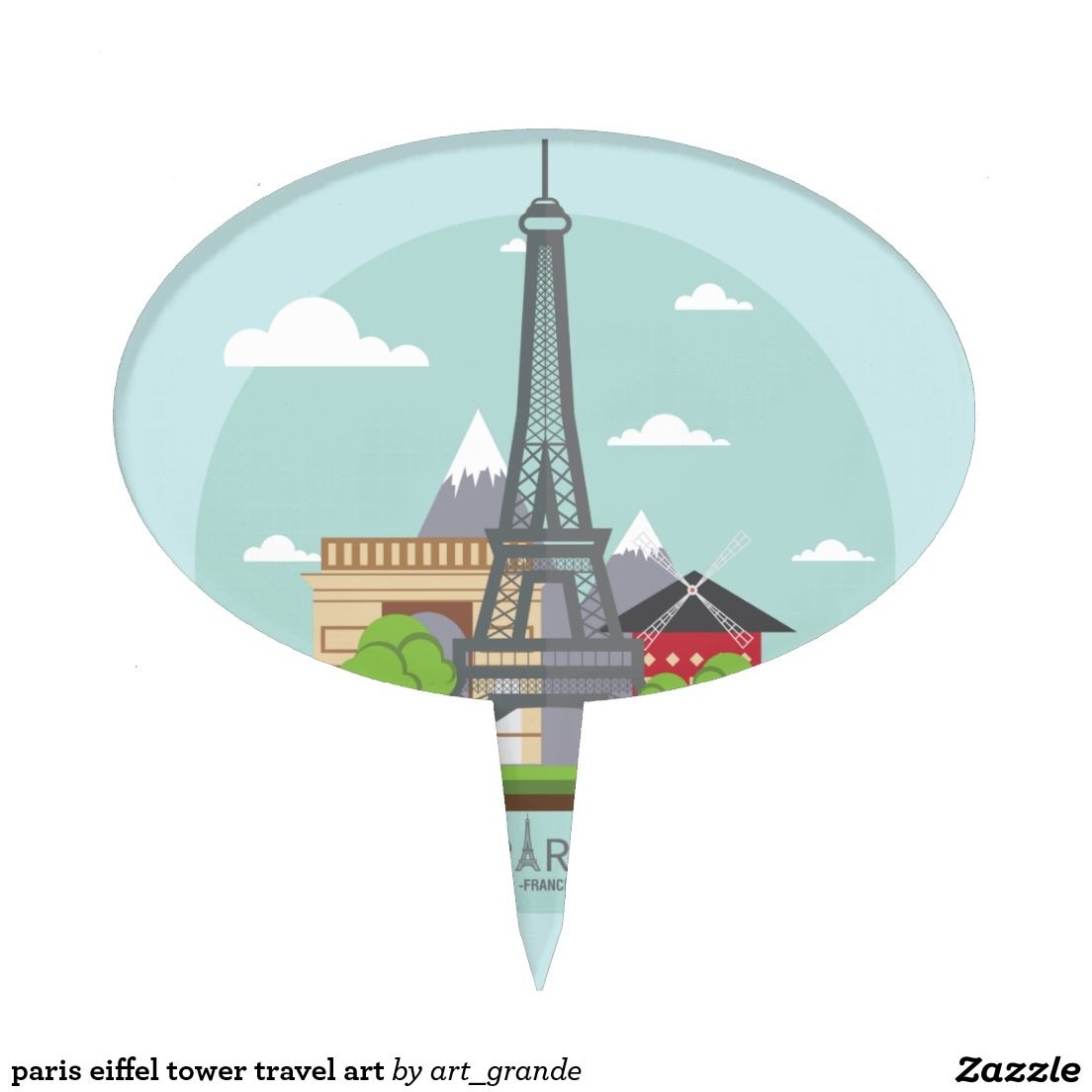 paris eiffel tower travel art cake topper