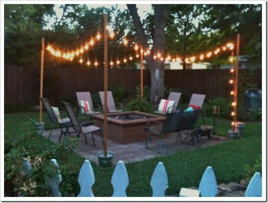 Support Poles For Patio Lights Backyard Makeover Diy Backyard