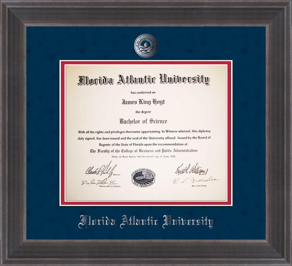 florida atlantic u diploma frame metro pewter w silver seal navy  florida atlantic u diploma frame metro pewter w silver seal navy suede