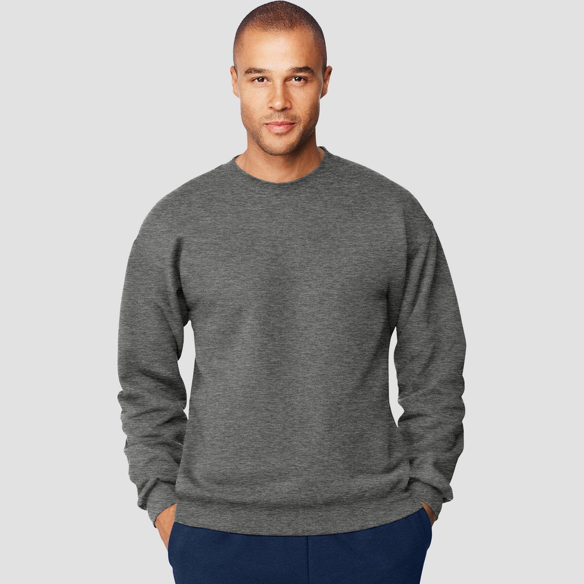 Hanes Men's Big & Tall Ultimate Cotton Sweatshirt Charcoal