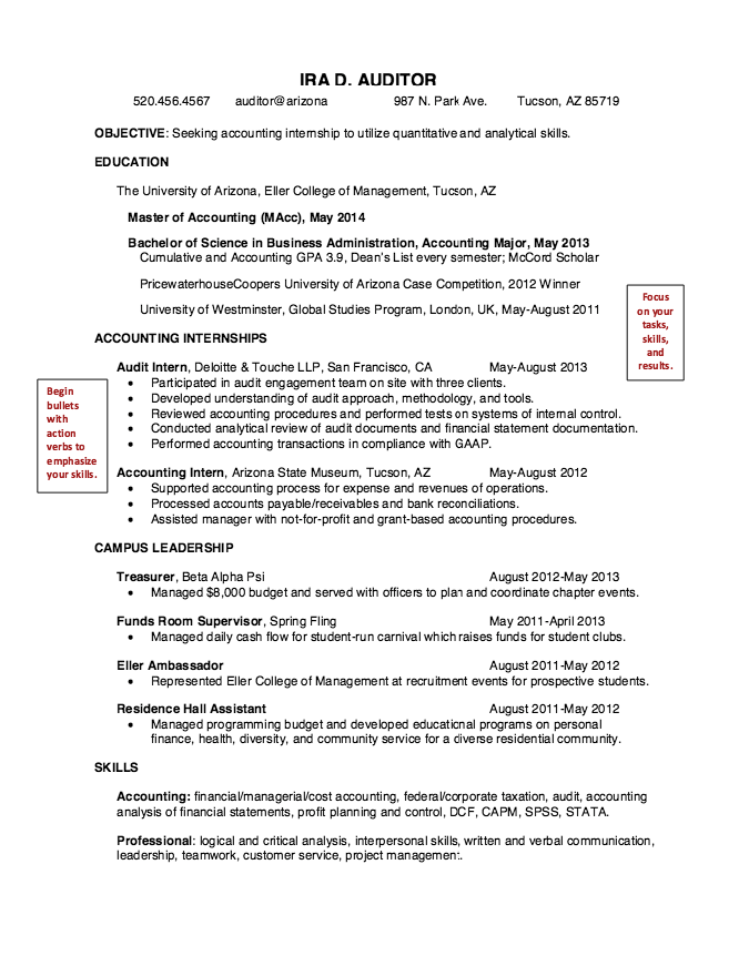 Accounting Graduate Student Resume Sample  HttpResumesdesign