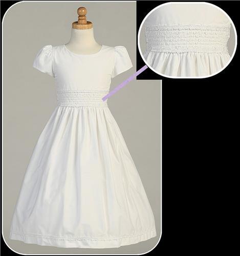White 100% Cotton Girls Communion Dress w. Smocked Waist & Fabric Ribbon Trim