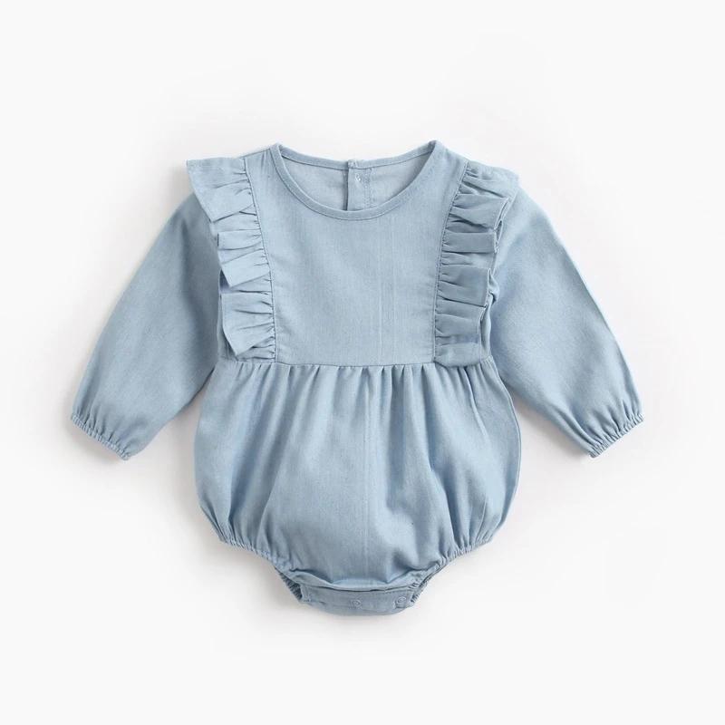 Light Long Sleeve Girls Ruffles Jumpsuit Baby Infant Jumpsuit Bodysuit Outfits