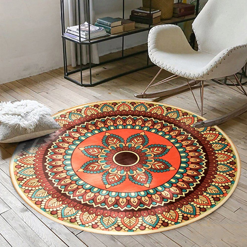this is one cool rug work great in a boho style decor playroom or kid s bedroom round rugs on boho chic kitchen rugs id=60087