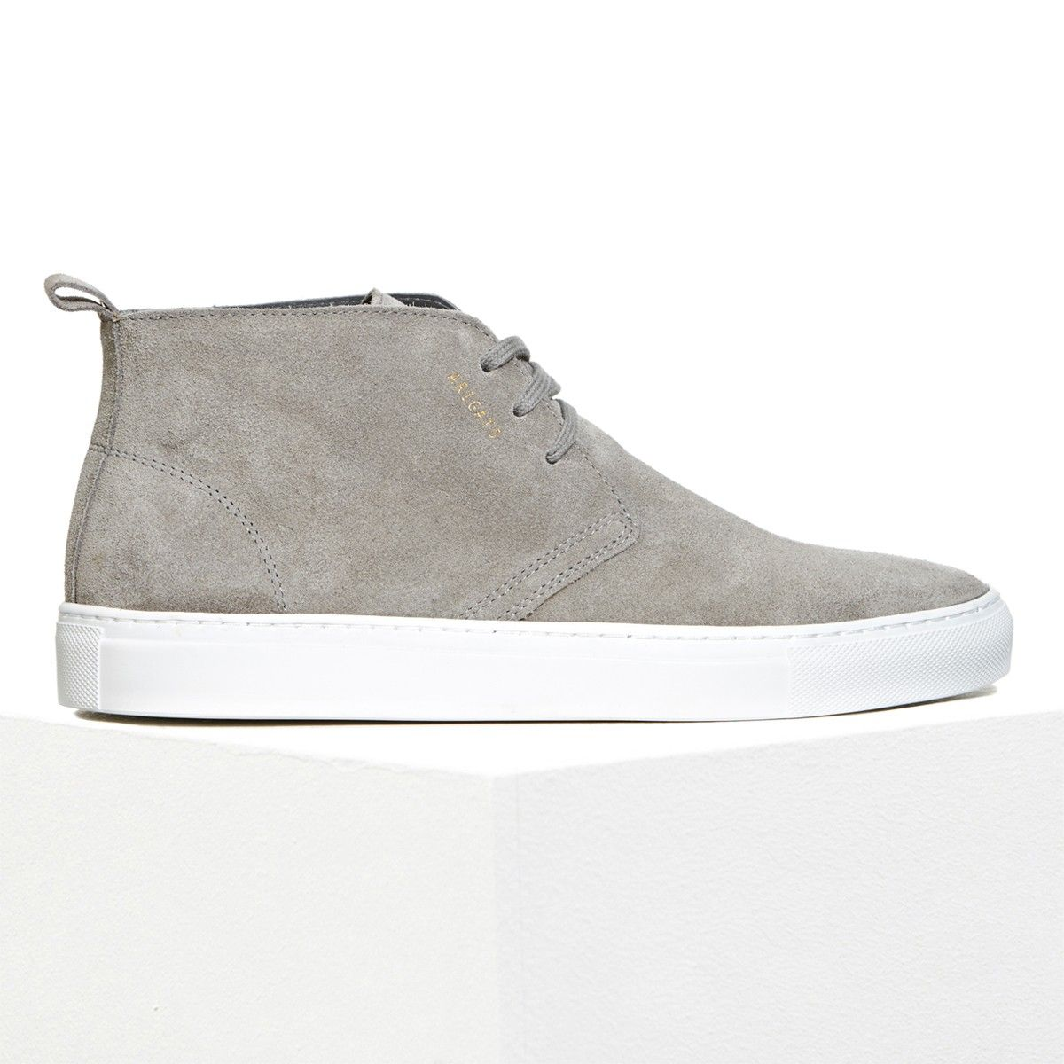 Axel Arigato chukka sneaker made from soft, supple grey suede and with a  back tab