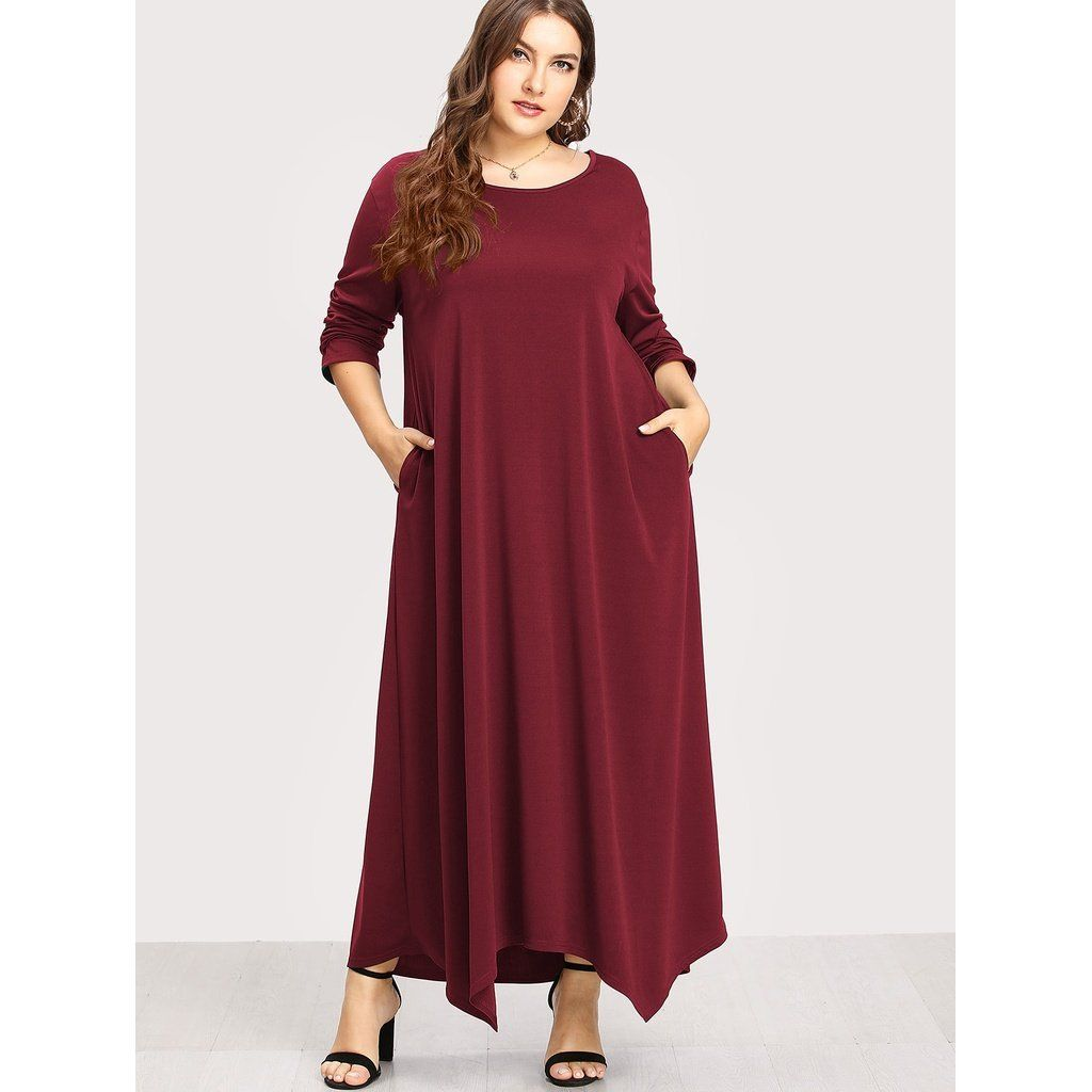 Plus size burgundy long sleeve solid maxi dress products