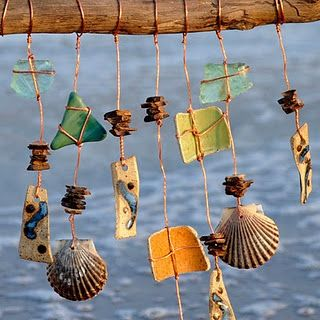 Wind chimes from shells and beach glass!