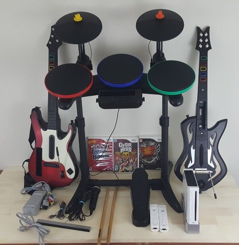 Nintendo Wii Guitar Hero Rock Band Drums Guitars Microphone