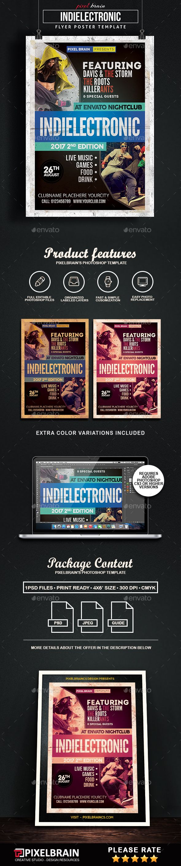 Indie Electronic Flyer Template Vol 4 Psd Template Only