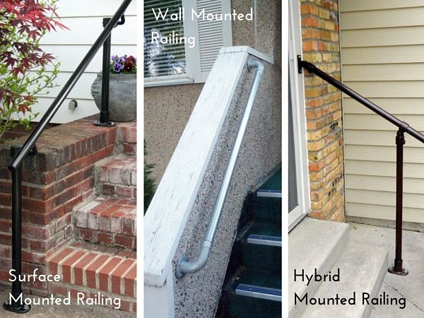 Best Surface Vs Wall Mounted Vs Hybrid Railing Stair Railing 400 x 300
