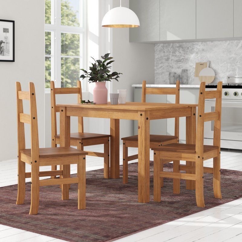 Wooden Dining Table 4 Seater Rectangle Waxed Finish Pine Wood