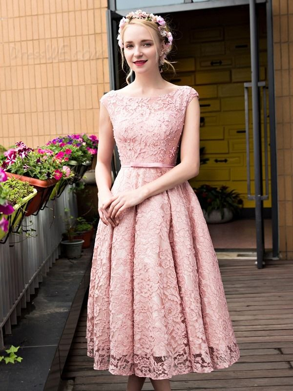 Dresswe.com SUPPLIES Fancy Vintage Bateau Neck Tea-Length Lace Prom ...