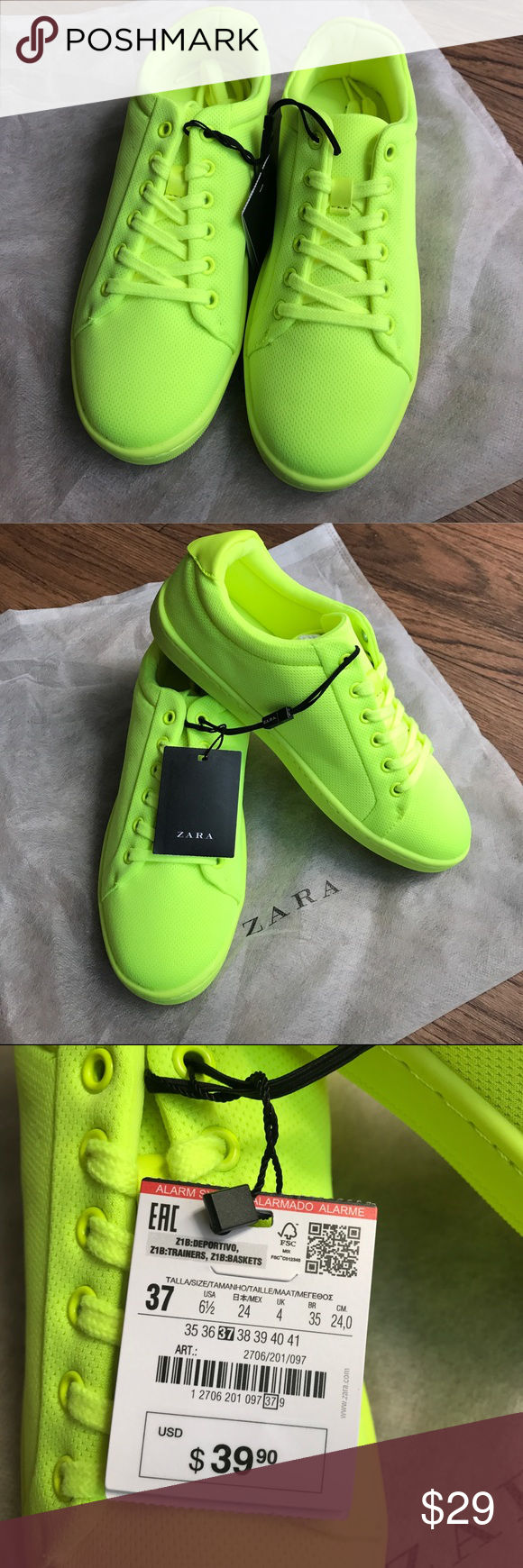 zara neon sneakers authentic 032a3 344f3