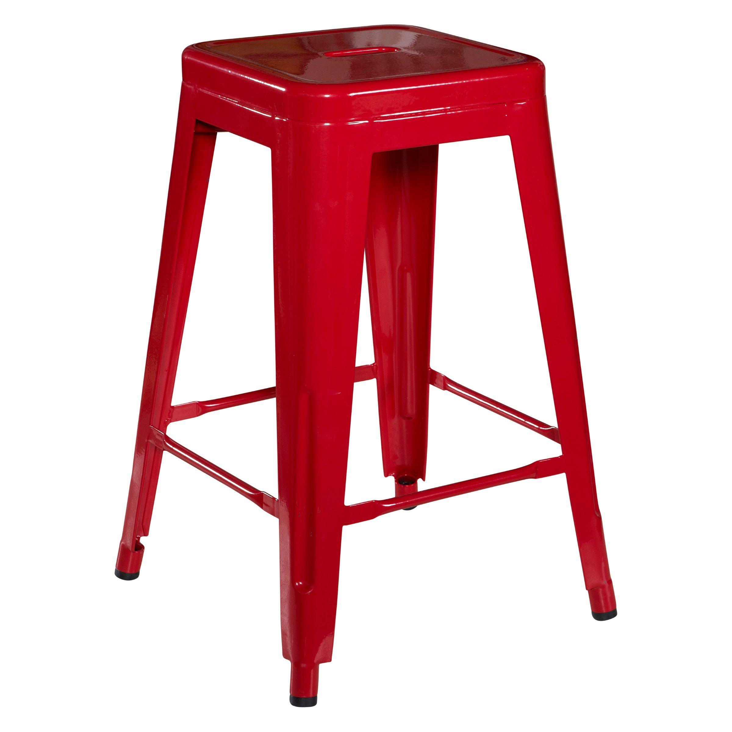 24 H Red Metal Breakroom Stool Metal Counter Stools Metal Bar Stools Backless Bar Stools