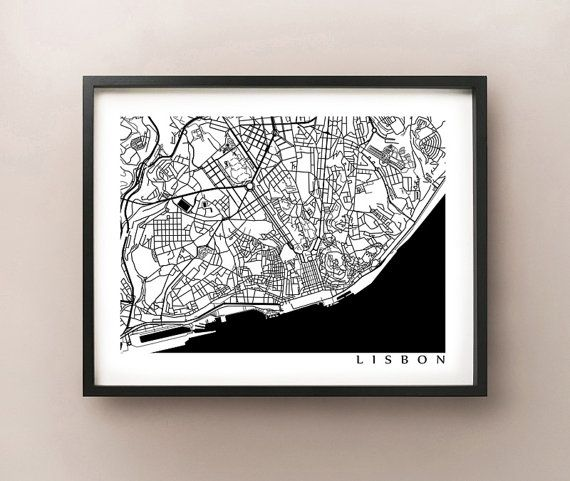 FREE STANDARD SHIPPING on all orders for a limited time! No coupon code required.   Black & White Lisbon map print. Baixa (downtown), Alfama,