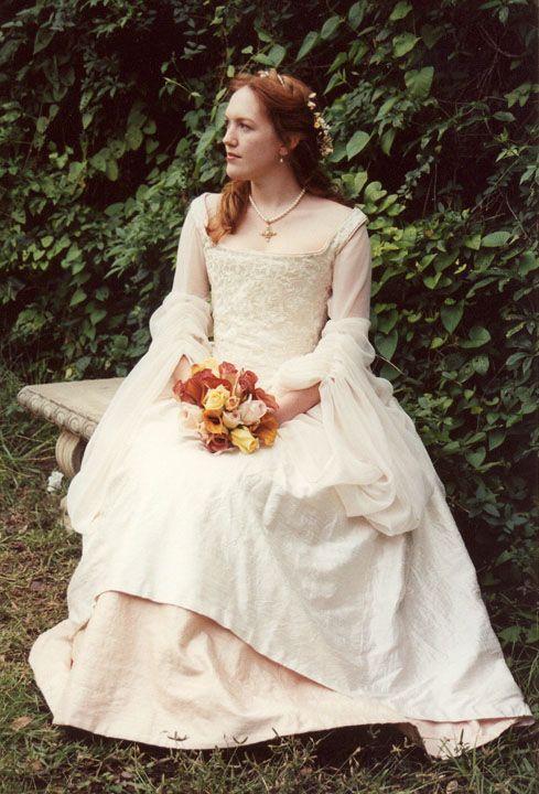 Tudor Style Wedding Gown.   Embellished wedding dress ...