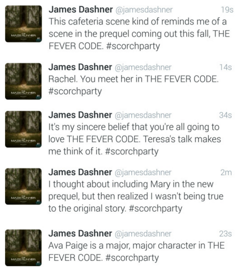 Hints about THE FEVER CODE by author James Dashner during #ScorchParty on twitter