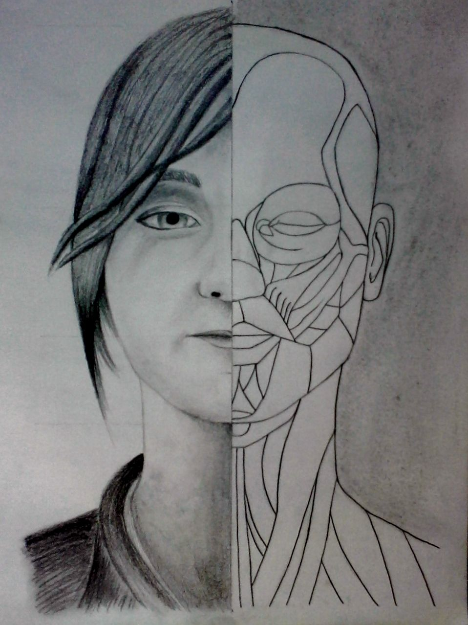 Dibujo A4 - Año 2012 Grafito y carboncillo Retrato y anatomía de ...