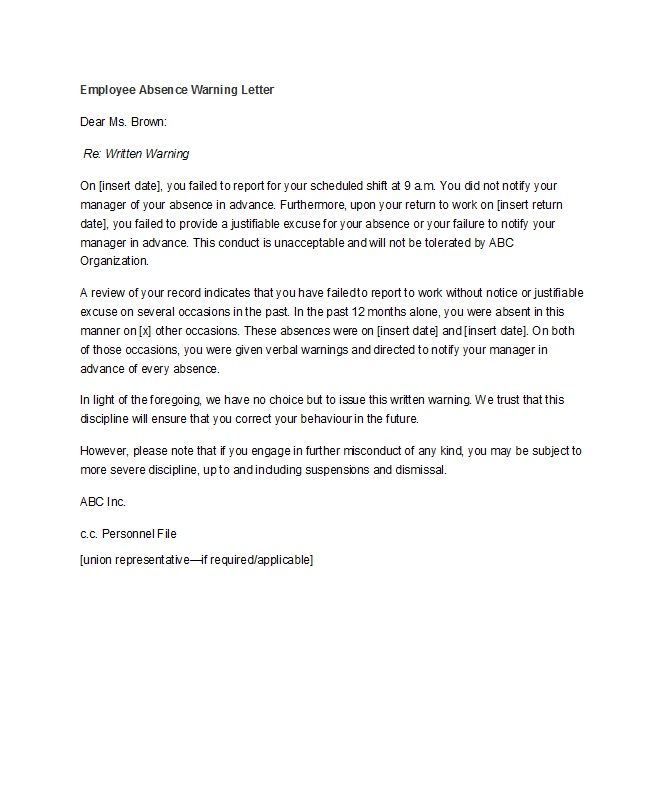 Sample Warning Letter To Employee For Misconduct from i.pinimg.com