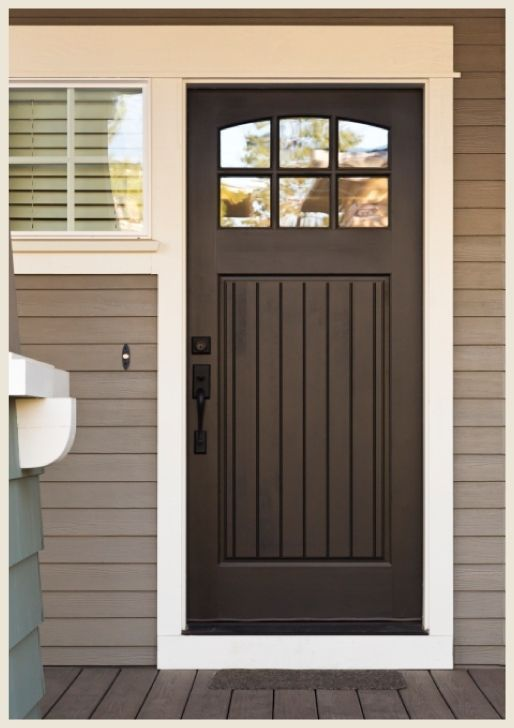 Front Door Color With Gray Siding Black Doors Give Even The Most Humble Entrance A Sophisticated Http Brown Front Doors House Exterior Red Front Door