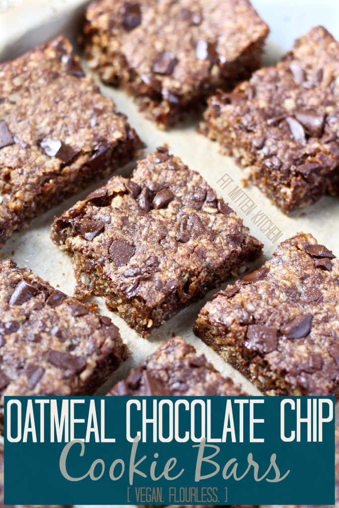 Gluten Free Vegan Oatmeal Chocolate Chip Cookie Bars