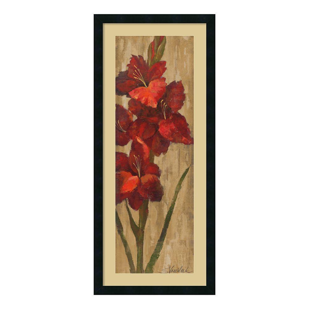 Amanti art vivid red gladiola on gold framed wall art black gold