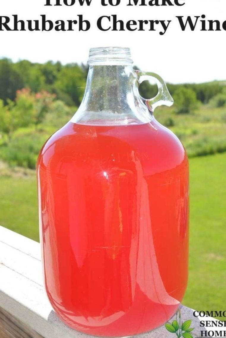 Rhubarb Cherry Wine Is An Easy Country Wine That Combines Two Abundant Local Fruits Rhubarb And Tart Cherries In 2020 Rhubarb Wine Cherry Wine Homemade Wine Recipes