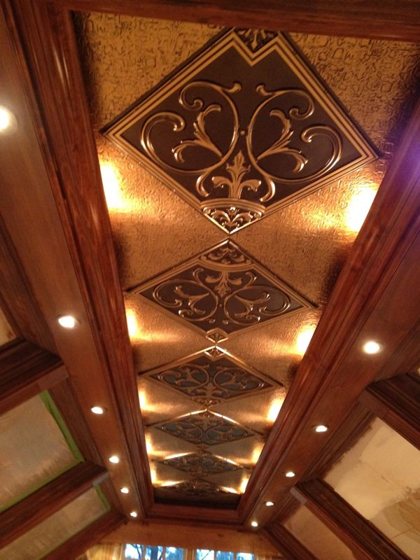 Beautiful Coffer-ed ceiling with stained wood and 204 Faux Tin Ceiling Tile  in Antique - Lilies And Swirls - Faux Tin Ceiling Tile - 24