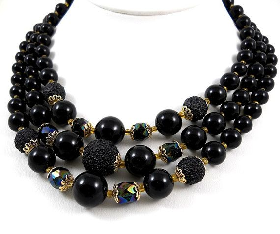 1960s Triple Strand Black Bead JAPAN signed Necklace has a lovely combination of Sugar beads, Black Iridescent Faceted Glass Beads adorned
