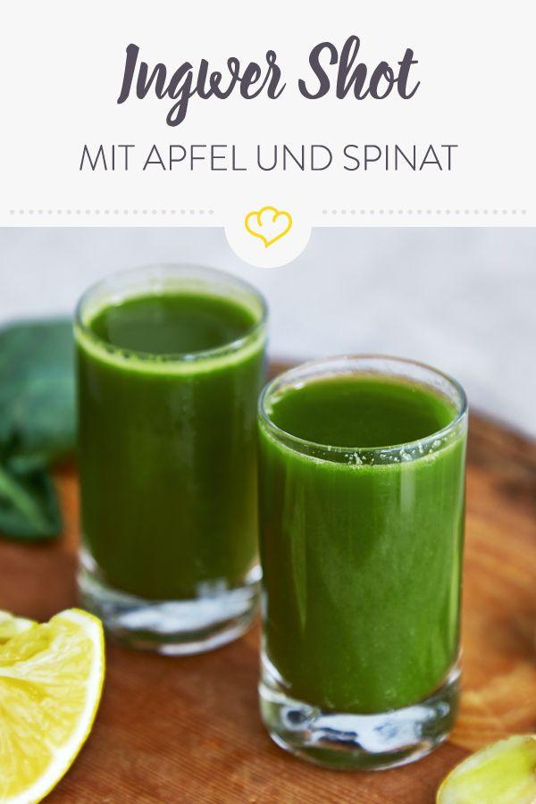 Photo of Grüner Ingwer-Shot mit Spinat und Apfel