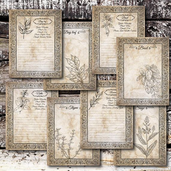 Printable Book of Shadows Herbs Pages PDF, Spell Book, Witch DIY
