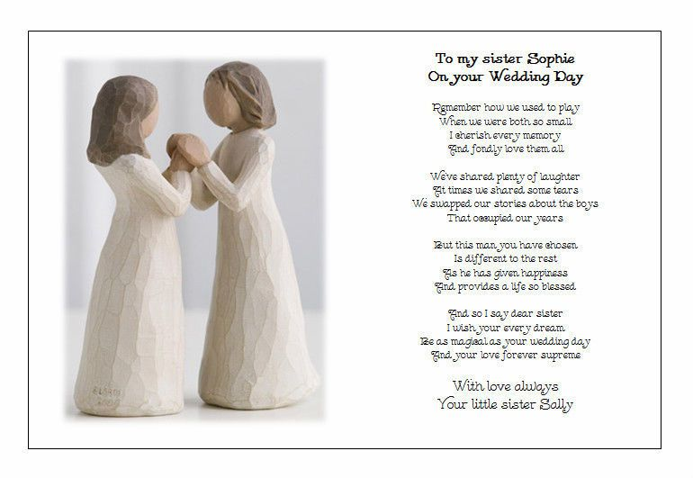 Personalised Wedding Day Poem Gift To My Sister On Your Marriage Wedding Personalized Wedding Wedding Bridal Party Gifts Wedding Day