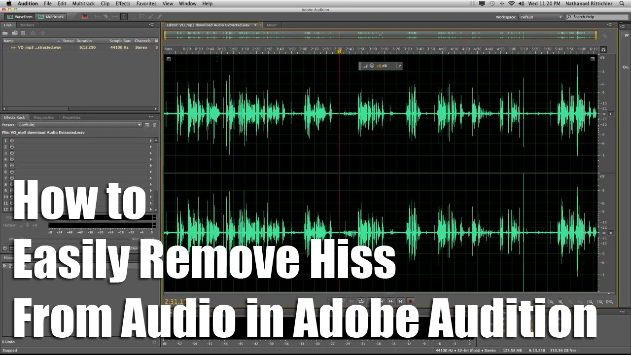 How to easily remove hiss from audio in adobe audition