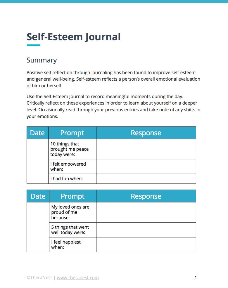 Pin On Self Esteem Worksheets