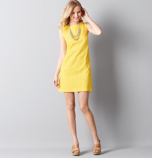 Loft Dresses Cotton Eyelet Shift Dress Yellow Or