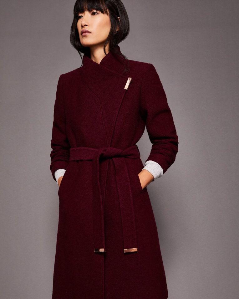 39559a530 Wool wrap coat - Maroon