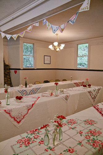 Love these vintage table cloth over lays